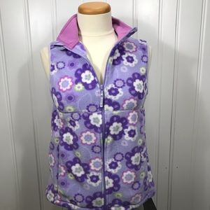 LL Bean kids purple flower fleece vest size XL